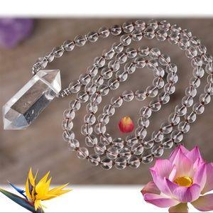 Natural White Quartz Double Point Prayer Necklace